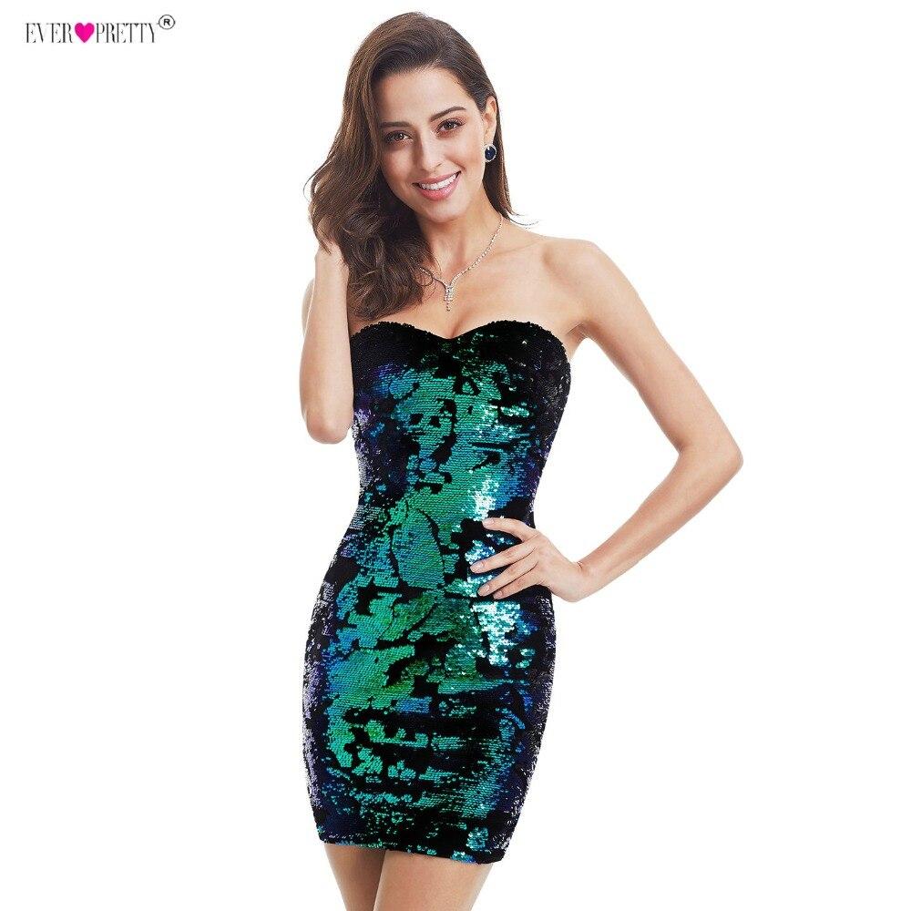 Cocktail     Dresses   Ever Pretty EP05823MC Luxurious Velvet Sequin Sparkle Style 2018 Sweetheart Strapless Mini Short Party   Dress