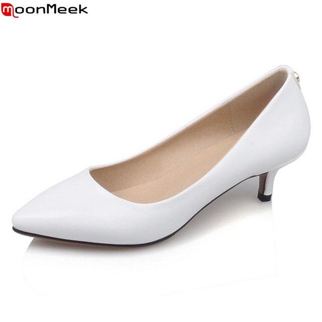 MoonMeek 2018 pompe scarpe da donna matura tacchi med tacco sottile punta a  punta slip on 1b9a46077e1
