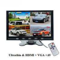 9 Inch 4 Split Quad Monitor TFT LCD Color Car Monitor 2 Video Input PC Audio
