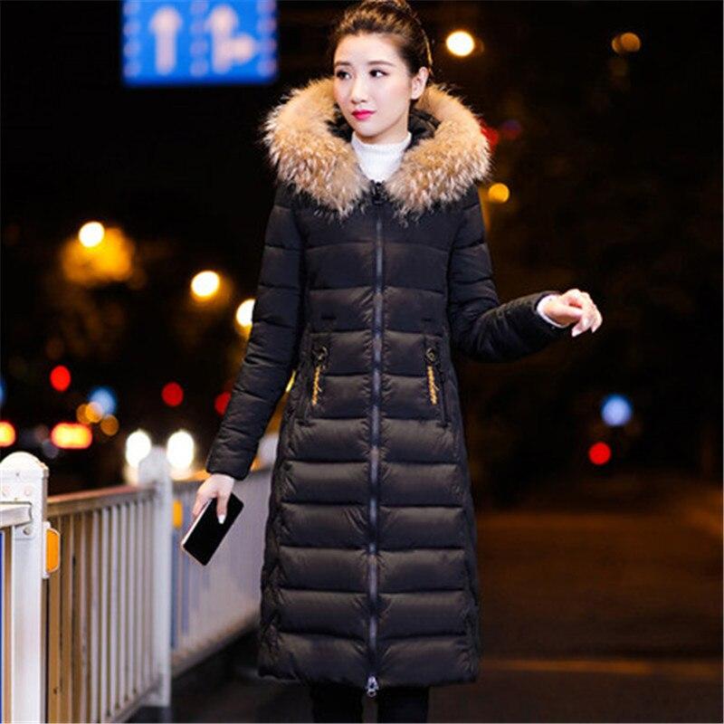 Winter Women   Parkas   2019 New Cotton Jackets Slim Large Size M-3XL Coats Female Mid Long With Fur Collar Cotton Outerwear W152