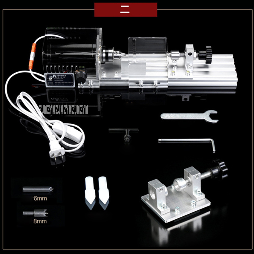 Multifunctional Micro-Lathe Household Woodworking Polished Lathe Small Beads Machine With Hole Puncher 110V/220V 280W 8000r/min beads making machine small diy woodworking micro lathes bench drill micro polished barrel bead ball lathe