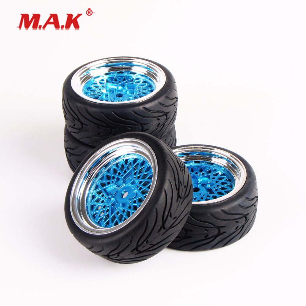 10365+21006 RC Car Model Accessories Flat Rubber Tires and Wheel Rim with 12mm Hex fit HSP HPI On Road Racing