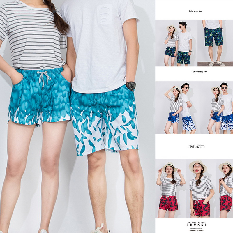 Men's Clothing Adisputent Men Beach Shorts Women Fashion Trunks Printed Ladies Boardshort Drawstring High Waist Sportwear Loose Swim Shorts