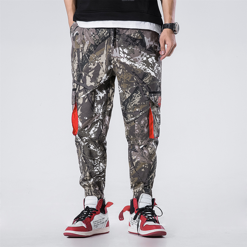 Hip Hop Camouflage Pants Japanese Street Men Draw String Elastic Waist Hip Hop Pants Male Trousers Ankle-Length Pants