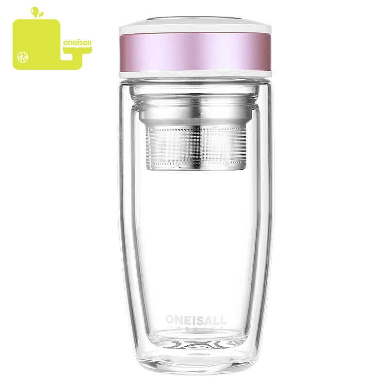 Nueva botella de agua de vidrio doble de 380ML para mujer, botella breve a prueba de fugas para agua con filtro de té de acero inoxidable, vaso de botella de bebida