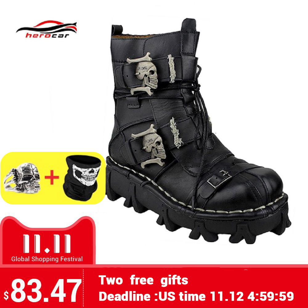 Cool Motorcycle Boots Men Biker Retro Genuine Cow Leather Skull Punk Martin Shoes Motorbike Moto Boots Protective Gear EU 38-49 free shipping 2017 cool brand man style skull leather eur plus size jackets men s genuine leather motorcycle biker jacket