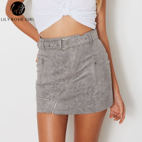 Lily Rosie Girl Gray Sexy Summer 2017 Suede Women Skirt Zipper Sashes Double Pocket Party Short