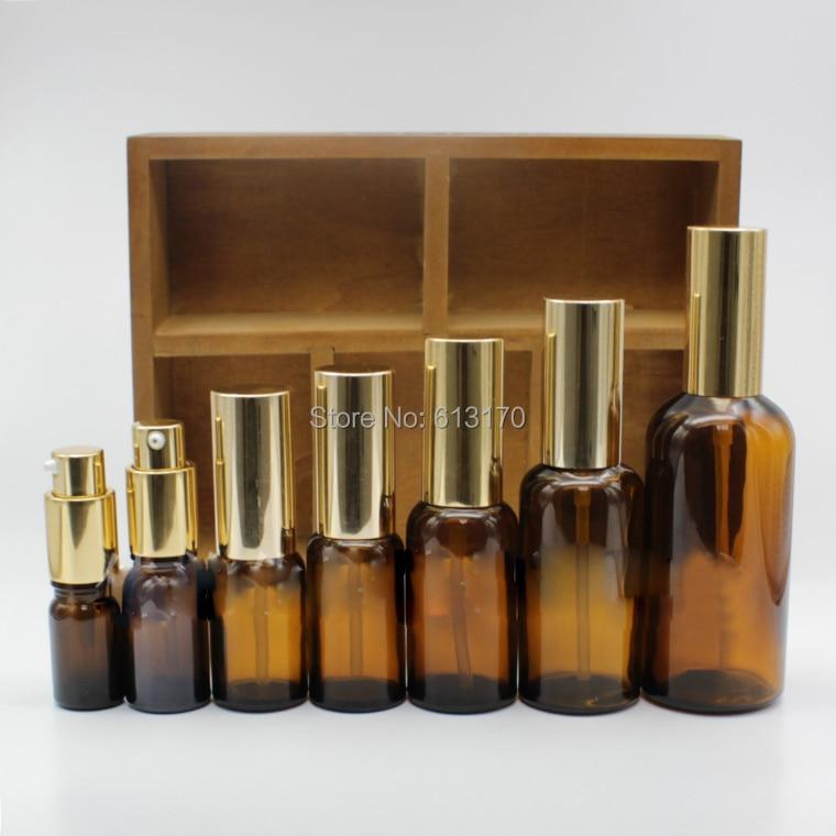 5ml,10ml,15ml,20ml,30ml,50ml,100ml Empty Glass lotion Bottle with Gold cap Amber Pump bottle for emulsion essential oils цена 2017