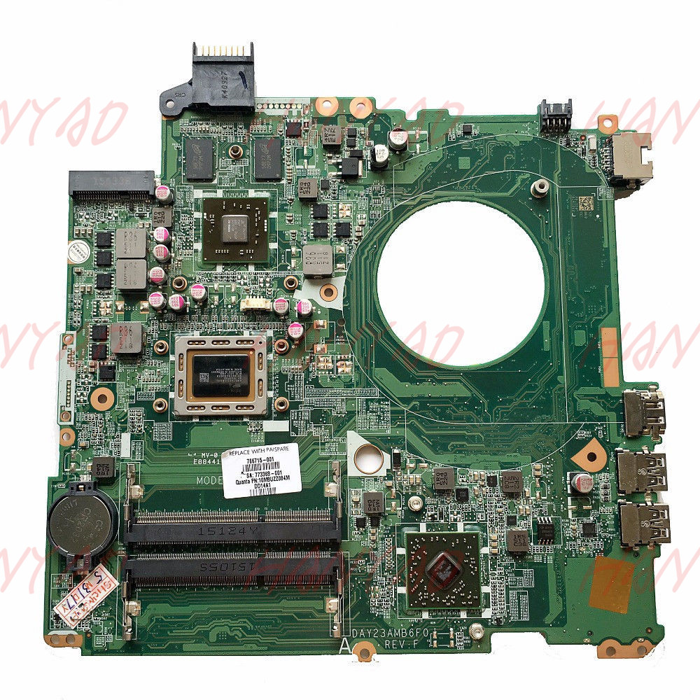 FOR HP 15 p laptop motherboard 766715 001 DAY23AMB6C0 A10 cpu Free Shipping 100 test ok in Laptop Motherboard from Computer Office