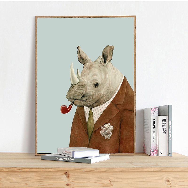 Uncle Rhinoceros Portrait Canvas Art Print Poster, Wall Picture for Living Room Decoration, Animal Home Decor Painting