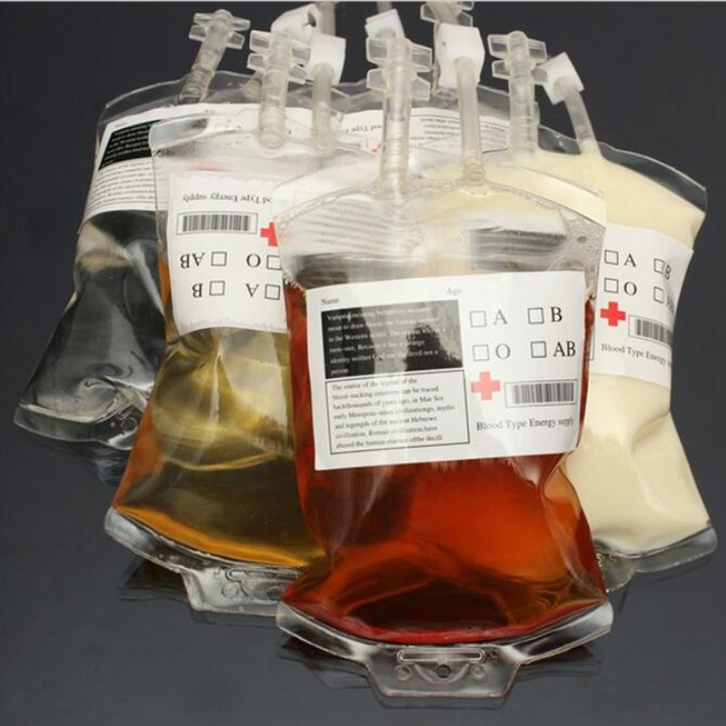 20pcs 300ml Transparent Clear Medical PVC Material Reusable Blood Energy Drink Bag Pouch Props Vampire Hot Christmas New Year