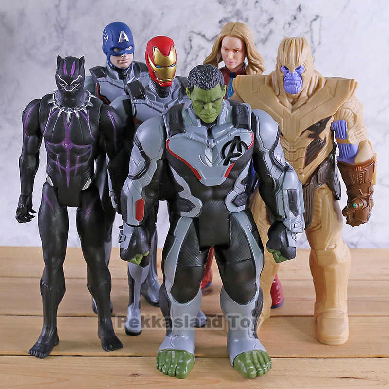 Marvel Titan Hero Power FX Thanos Hulk Captain America Marvel Iron Man Black Panther Avengers Endgame Action Figure ของเล่น