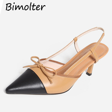 Bimolter Sexy Thin Heels Women Sandals Summer 2019 New Pointed Toe Fashion Bow-tie Ladies Mules Shoes For Party Gift Black NB038