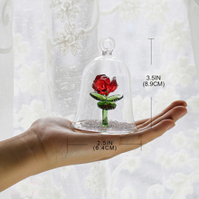 Crystal Enchanted Rose Flower Figurine Dreams Ornament in a Glass Dome Gifts for her (Red)
