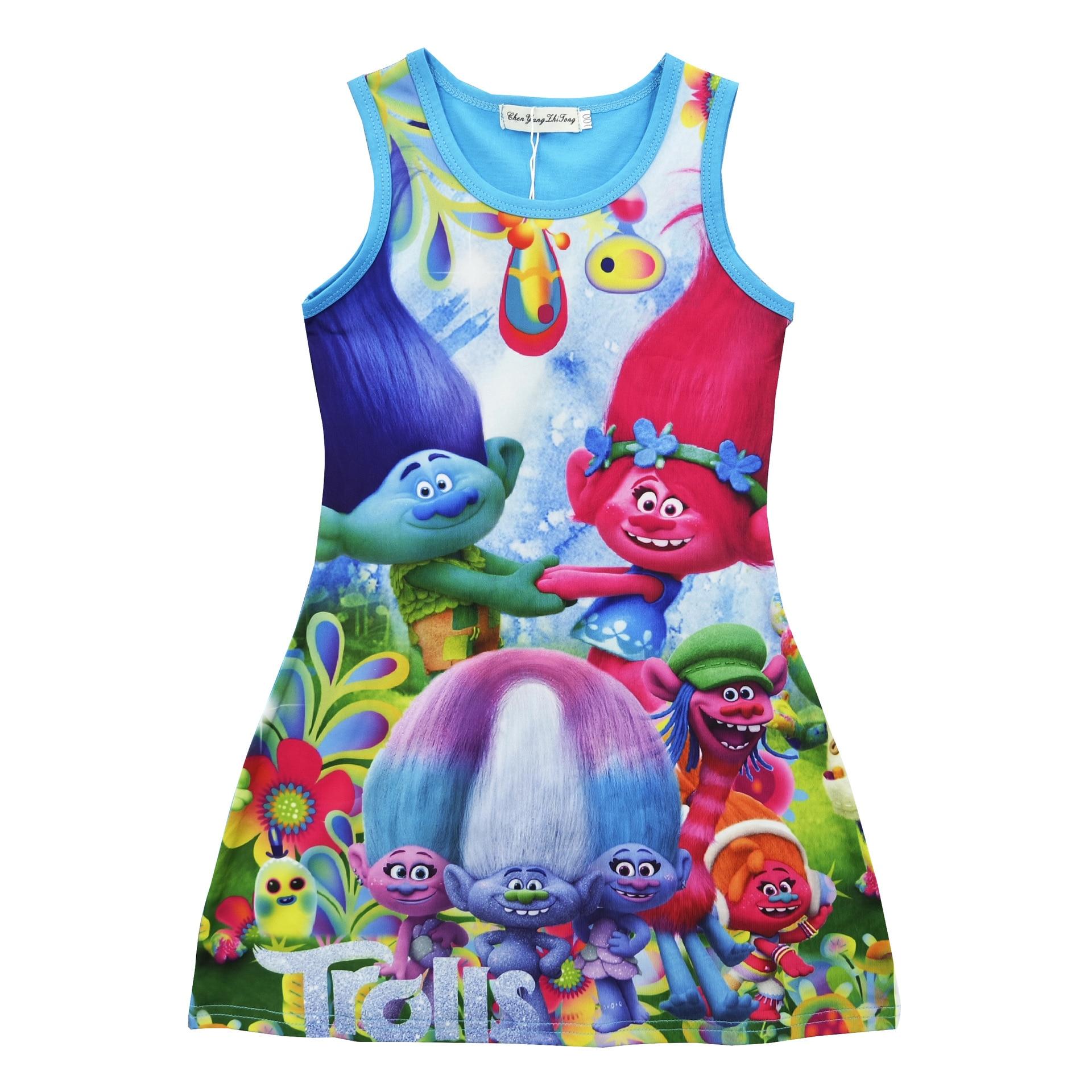 Z&Y 3 12Years Branch Trolls Dress Baby Girl Fancy Dress Kids Clothes