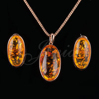 Jenia Unique Design Yellow Amber Jewelry Sets Antique Drop Earrings And Pendant Set Rose Gold Plated