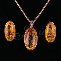 Jenia Unikalna Konstrukcja Wzrosła Złoty Kolor Żółty Kamień Zestawy Biżuterii Antyczne Drop Kolczyki i Wisiorek Zestaw XS181