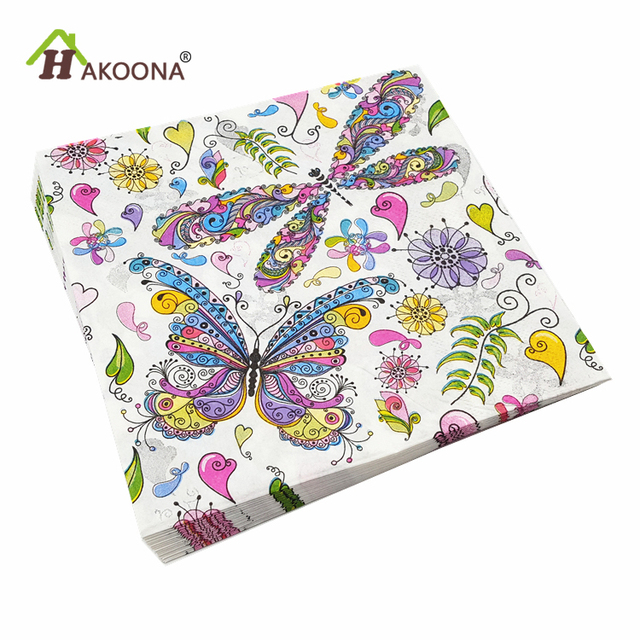 HAKOONA 60 PCS Butterfly  Disposable Paper Towels Square Tissue Paper Hotel Restaurant Napkins Wedding Birthday Party Decoration