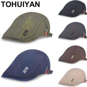 8923edec647a TOHUIYAN Street moda sombrero militar para hombres otoño verano  transpirable malla plana sombreros ...