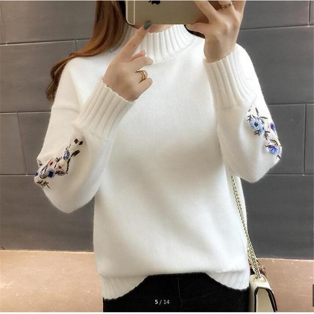 נשים באיכות גבוהה אופנה 2018 גולף סוודר נשים למעלה אישה ארוך שרוול חם סוודרים רקום סרוג בסוודרים B3965