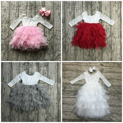 new RADIANT pink wine white GORGEOUS GRAY TULLE dress tutu kids wear baby girls boutique children clothes long sleeve match bow