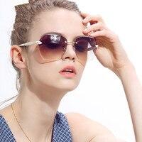 Women Over Size Square Sunglasses Rimless Gradient Diamond Trimming Sun Glasses Eyeglasses Red Blue Brown White