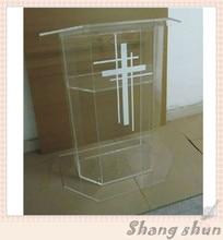 Plexiglass Cheap Pulpit, Acrylic Lectern/Podium Rostrum/Pulpit Acrylic Dais Clear Acrylic Church Podium Stand