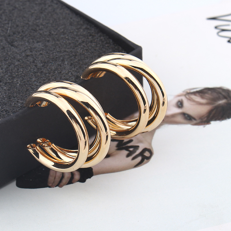 3 Layered Gold Silver Color Metal Earrings For Women Wedding Geometric Round Circle Statement Earing Fashion Jewelry Earrings