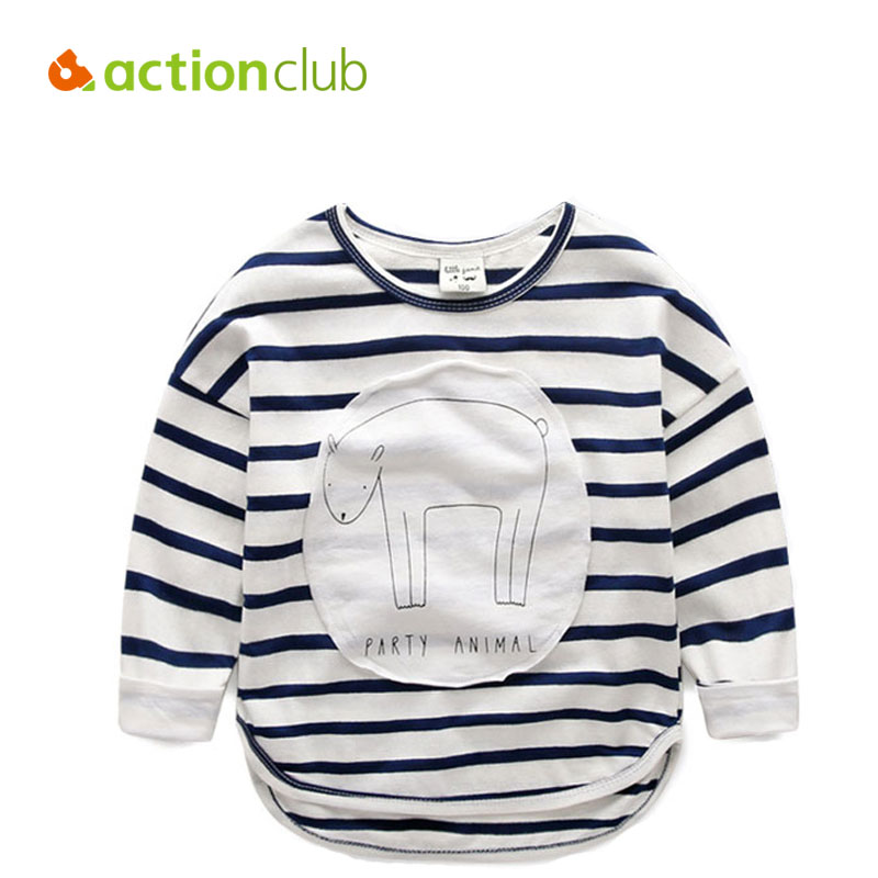 Actionclub 2016 Children T Shirts 2-6Years Baby Boys Girls Clothes Long Sleeve Cotton Cartoon Pattern Kids Clothes T-shirts