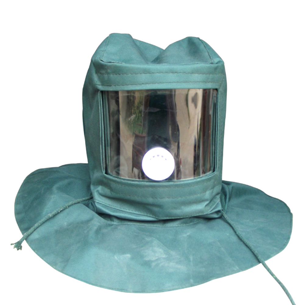 Protective Durable Tool Canvas Sandblaster Cap Hood Professional Breathable Abrasive Wind Anti Dust Green Mask Industry(China)