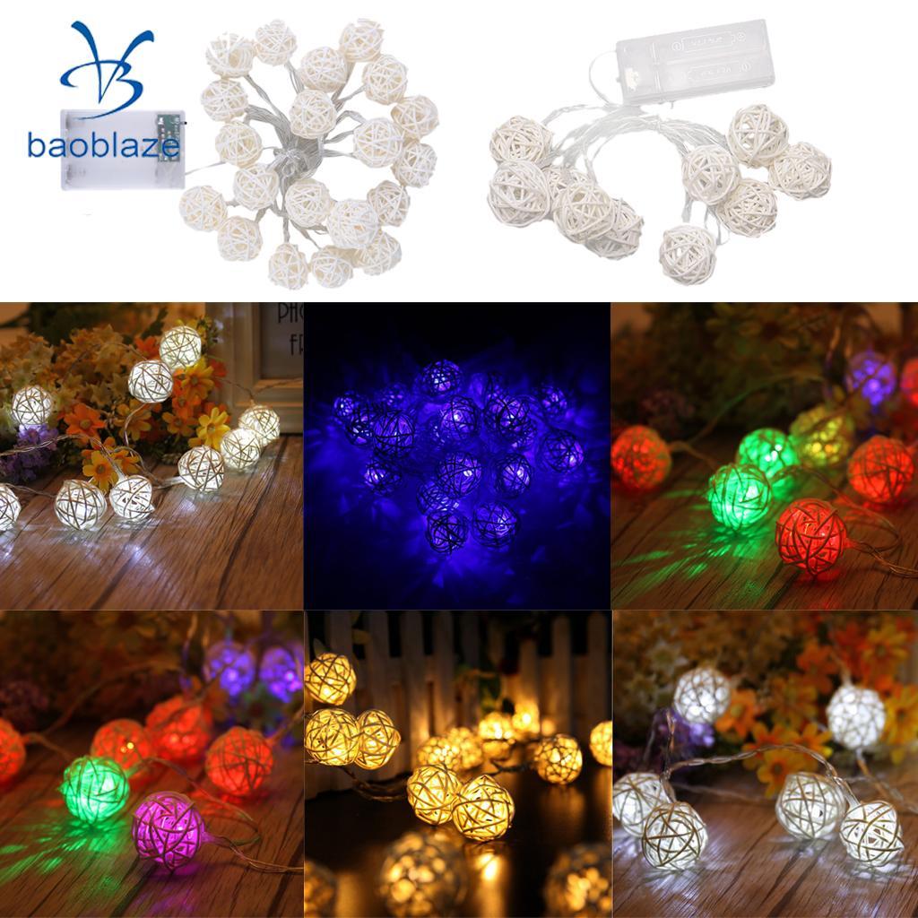 Baoblaze Energy Saving LED Rattan Ball String Fairy Light With Bulbs for Christmas Diwali Home Bedroom Balcony Windows Decor