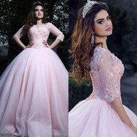 Modest Pink Ball Gown Quinceanera Dresses 3/4 Long Sleeves Saudi Arabic Tulle Corset Sweet 16 Dresses Prom vestidos de 15 anos