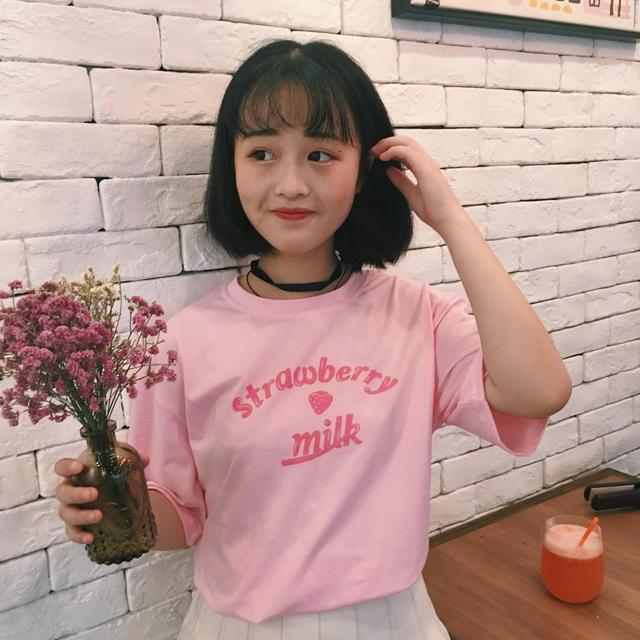 2021 Summer New Fashion Letter Printed Cote College Wind Short Sleeve Loose Female T-shirts 4