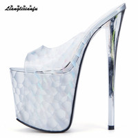 LLXF zapatos Plus:34 45 46 47 Summer transparent Sandals Nightclub Peep Toe 20cm High heeled Shoes woman Stiletto female Pumps
