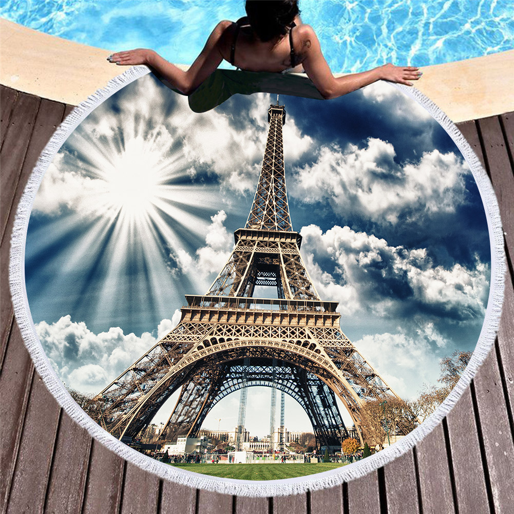 3D Printed Scenic spots Microfiber Round Beach Towel for Adults Summer Toalla Tassel Yoga Mat T321|  - title=