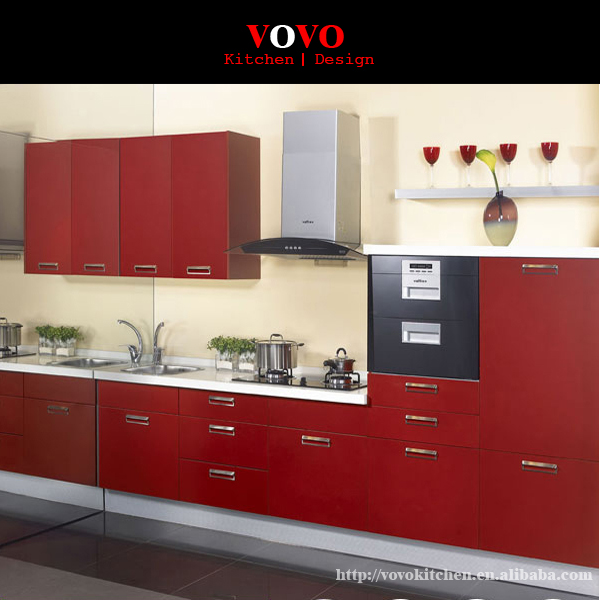 Lacquer Kitchen Cabinets: Red Lacquer Finish Modern Kitchen Cabinets-in Kitchen