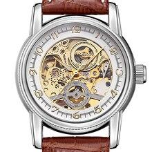 ORKINA Relojes para Hombre Skeleton Dial Brown Band Leather zegarek  Punteros Luminosos Movimiento Automático hombres Reloj M.. f15bda95ec2a