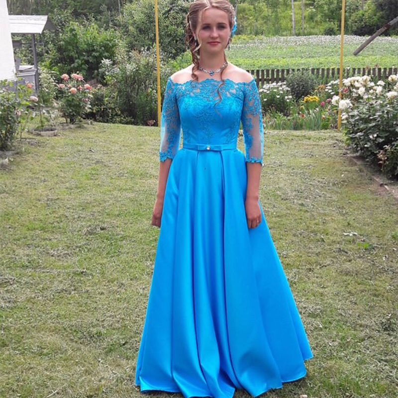 Off Shoulder A-line   Prom     Dress   With Half Sleeves Boat Neck Appliques Formal Party   Dresses   Sky Blue Satin Sash Occasion   Prom   Gown