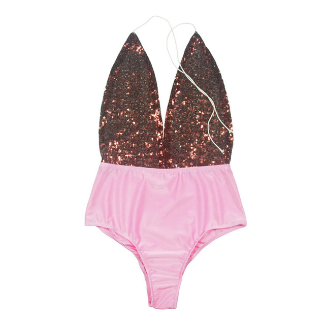 Bandage Swimsuit Pink Sequins Design One Piece Swimwear