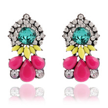 2015 New Vintage Crystal Rhinestone Earrings Retro Hoop Resin Drop Earrings For Woman Gifts Wholesale Fashion Jewerly