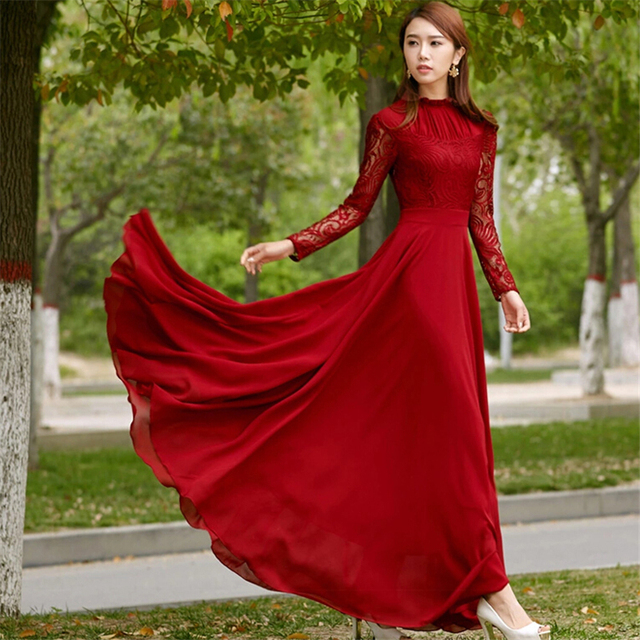 001e328192c 2018 Fashion Womens Red Lace Chiffon Exquisite Dress Hollow Out Luxury Full  Long Ruffles Maxi Dresses for Bride Bridesmaid Women