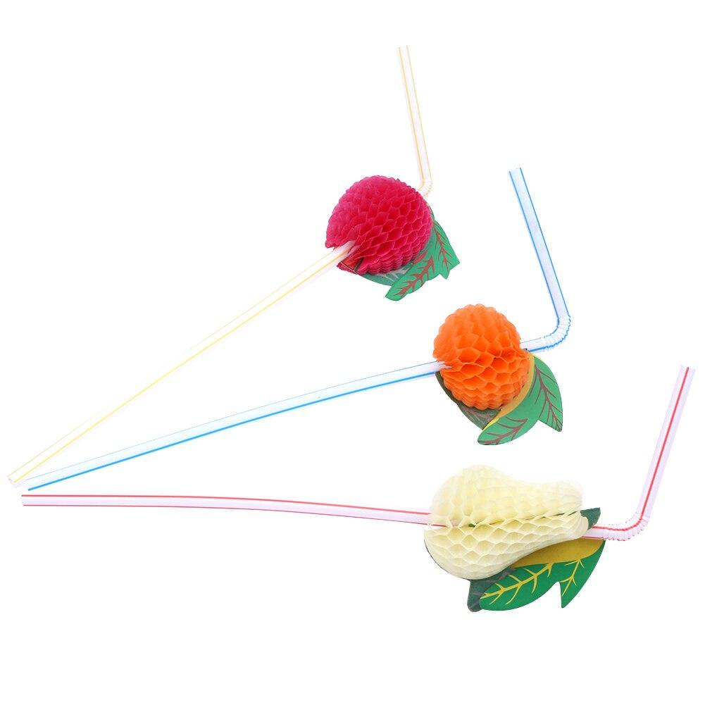 New50PCS/Lot Cute 3D fruit Straw Bendy Flexible Plastic Drinking Straws Kids Birthday/Wedding/Pool Party Decoration Supplies