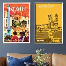 Europa Roma, Italia mapa viajes mapa lienzo pintura pared vintage Kraft carteles de pared pegatinas imágenes decorativas para casa regalo