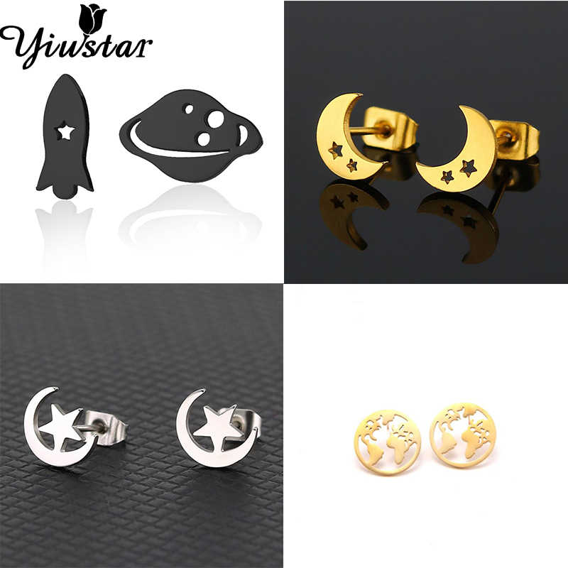 Yiustar New Classic Korean Cute Universe Planet Earth Rocket Moon Star Stud Earrings for Women Kids Asymmetry Earing Brincos