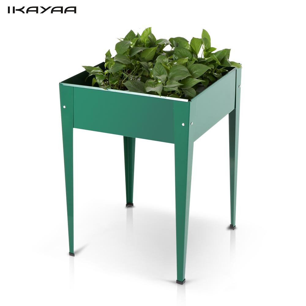 Ikayaa metal patio elevated garden planter flower raised for Vegetable garden planters
