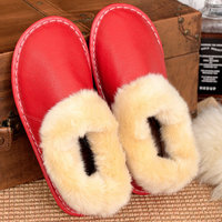 Autumn and winter home warm ladies leather cotton slippers indoor non slip comfortable slippers.