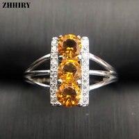 ZHHIRY Prawdziwy Naturalny Cytryn Kamień Pierścień Fine Jewelry 925 Sterling Silver Rings Dla Kobiet