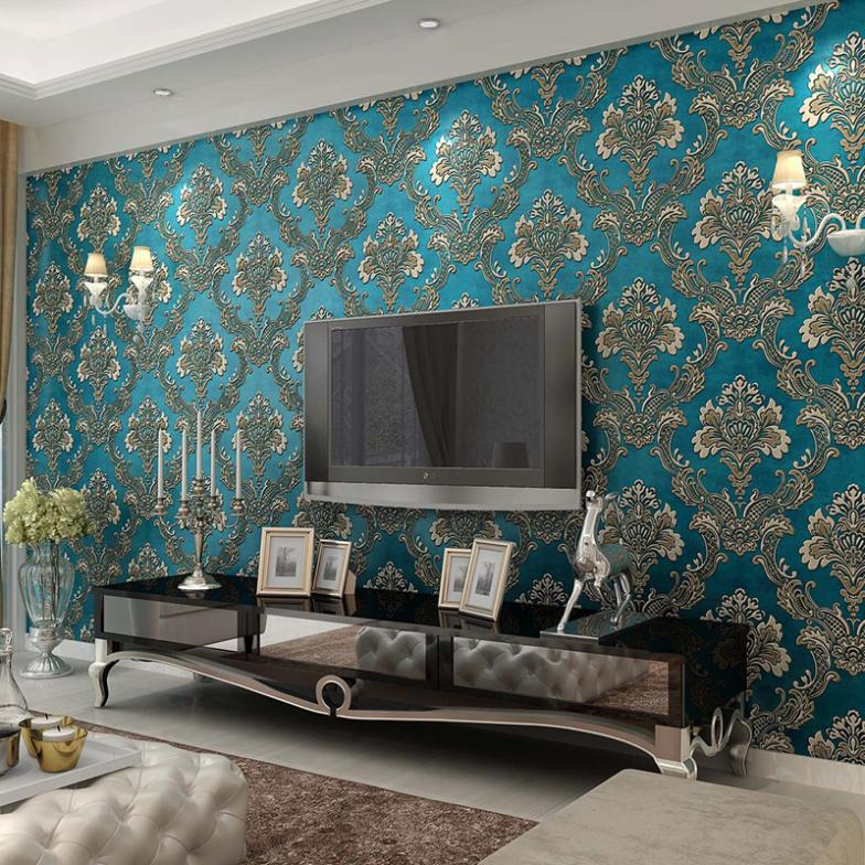 2015 New High End 3D Wallpaper Backdrop Bedroom, Living Room European Woven  Blue Light Yellow In Wallpapers From Home Improvement On Aliexpress.com ... Part 10
