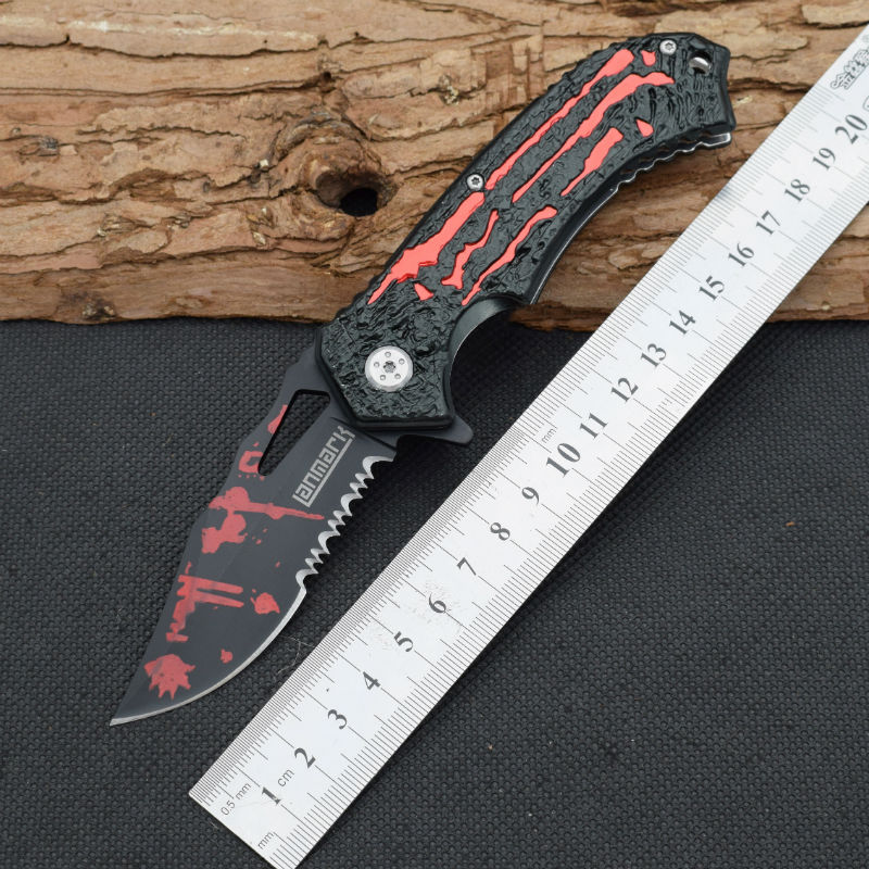 New Survival font b Knife b font 5Cr13Mov Steel Blade Steel Handle Pocket Folding Knifes Hunting