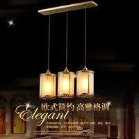Европейский Стиль полный Медь лампа Ресторан свет теплые простые Творческий Круглый и прямоугольные три головы Средиземноморский Лампы дл